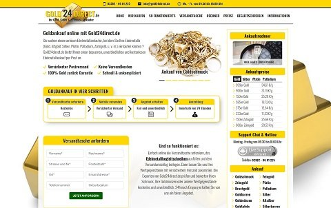 Webdesign für Gold 24 Direct